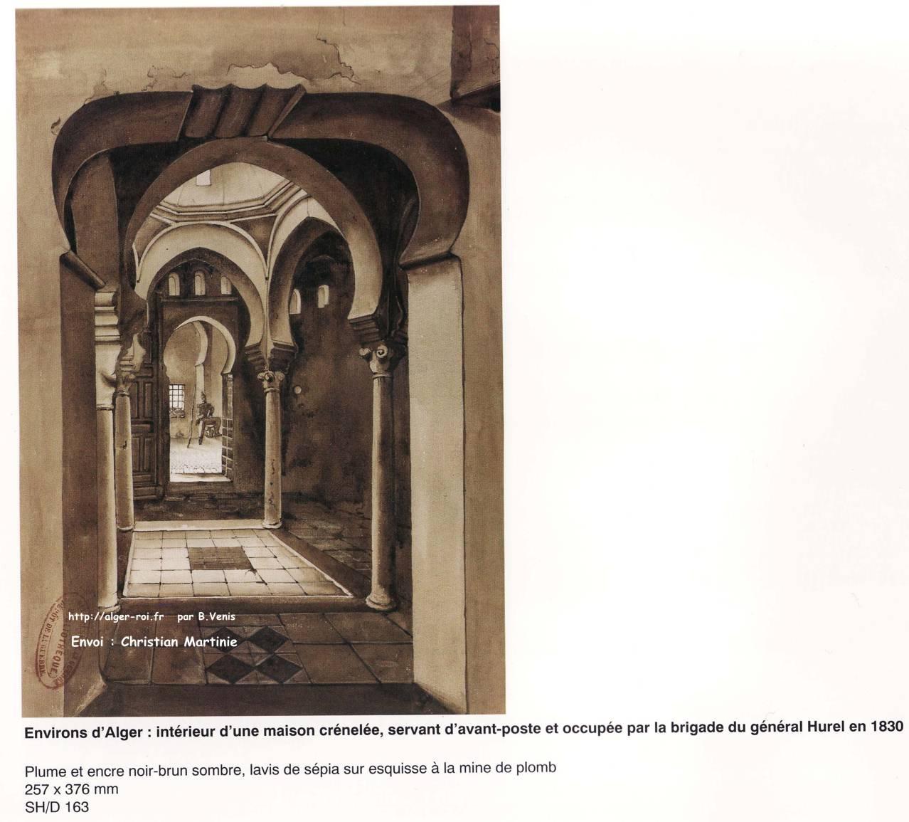 Interieur d 39 une maison crenelee algerie romantique lavis for Interieur algerie
