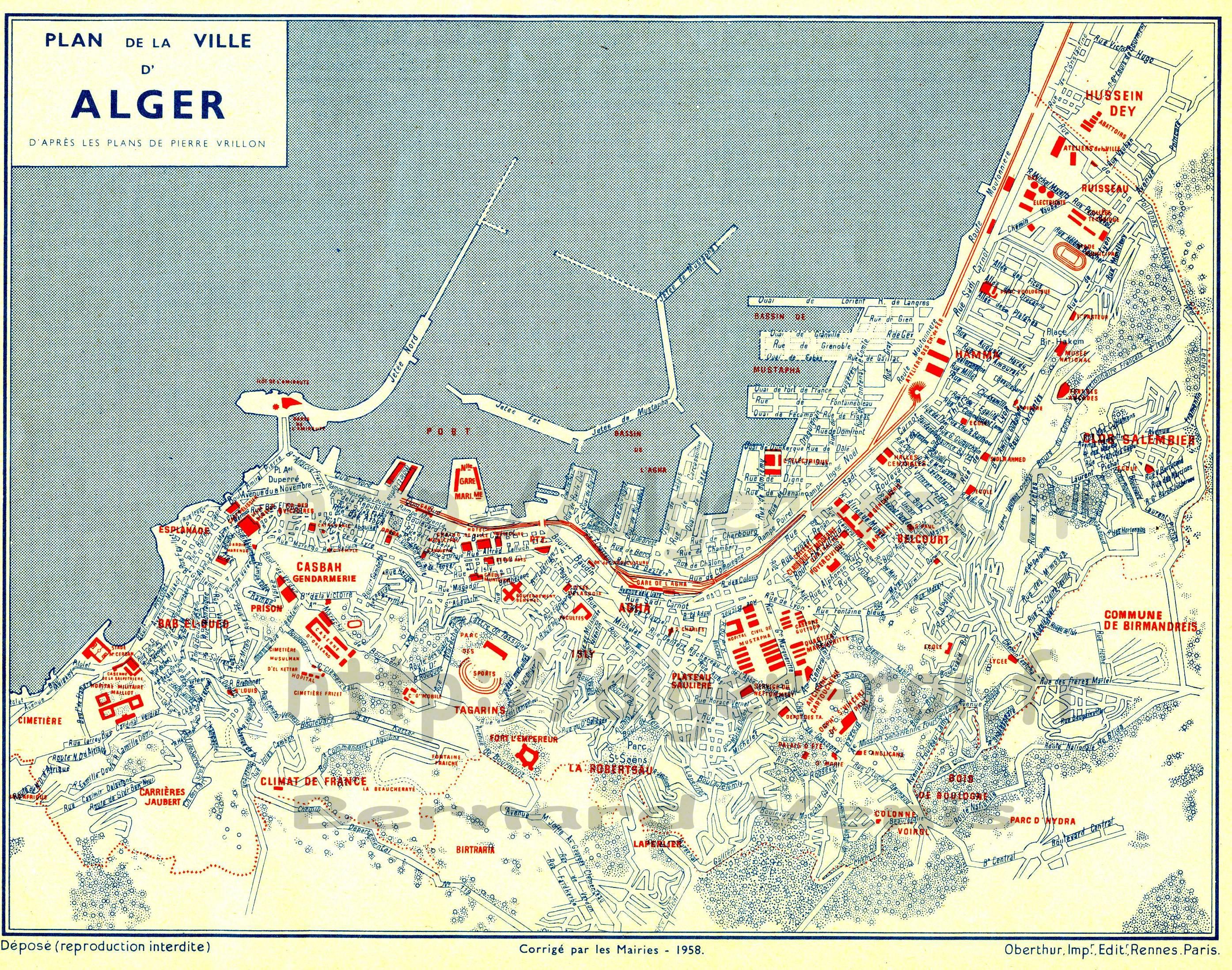 Plan D Alger Extrait Du Calendrier Ptt 1961 Http Alger