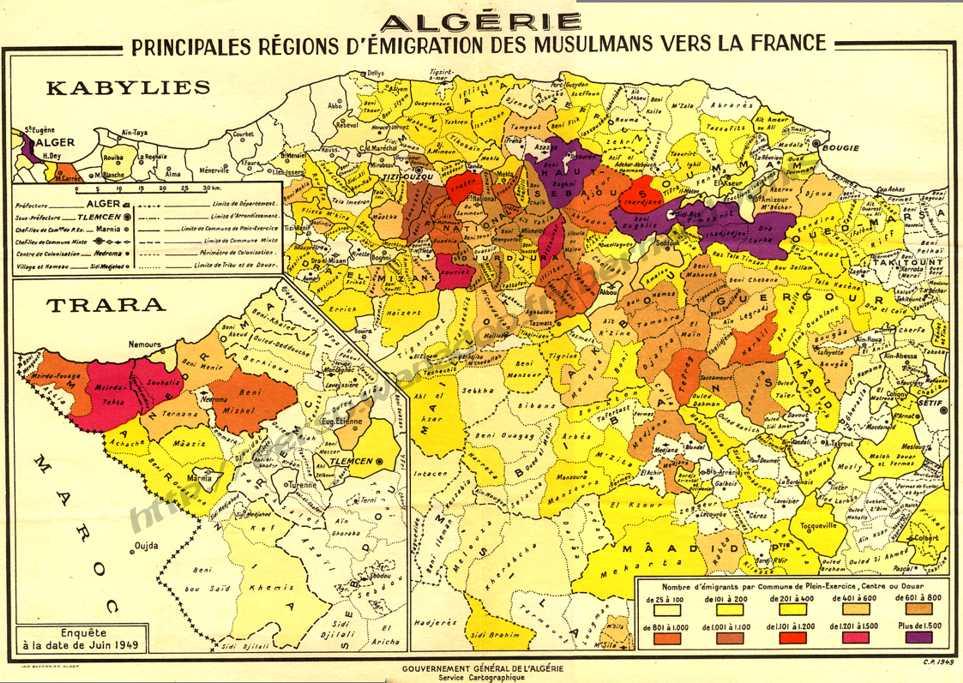 Carte Kabylie Detaillee.Emigration Des Musulmans Algeriens En France Aspects