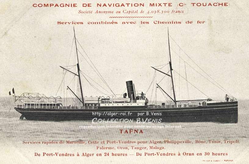 Nos paquebots le tafna compagnie de navigation mixte http - Port de marseille pour aller en algerie ...