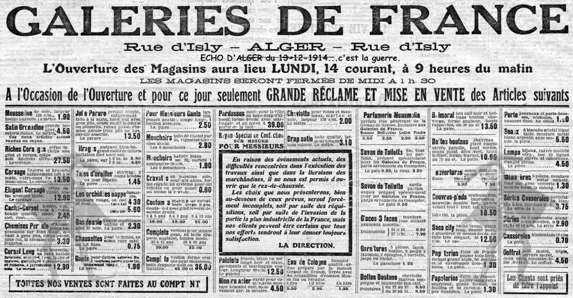 Rue d 39 isly galeries de france l 39 ouverture des magasins en 1914 http alger - Le roi du matelas heures d ouverture ...