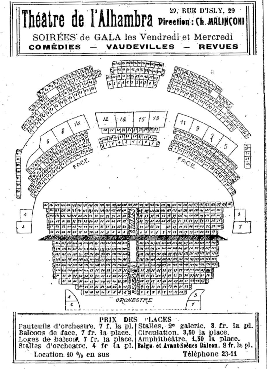 theatres plan de la salle de l 39 alhambra et prix des places