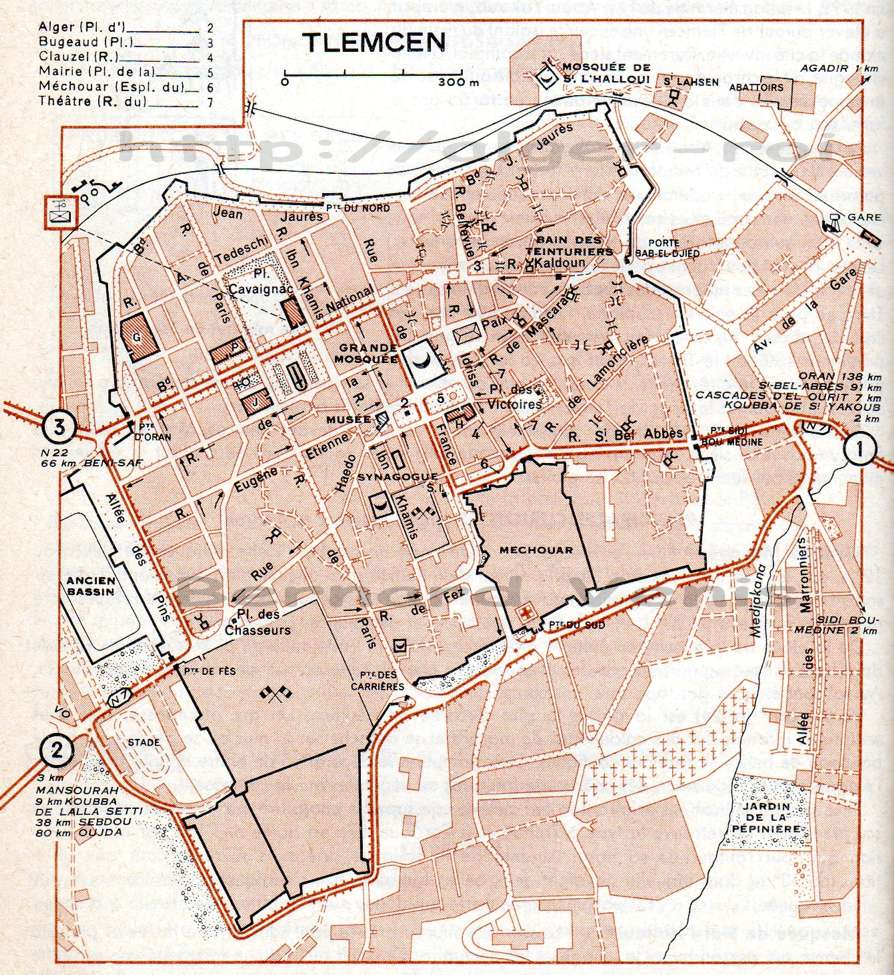 Tlemcen plan de la ville guide vert michelin 1956 http for Plan tlemcen