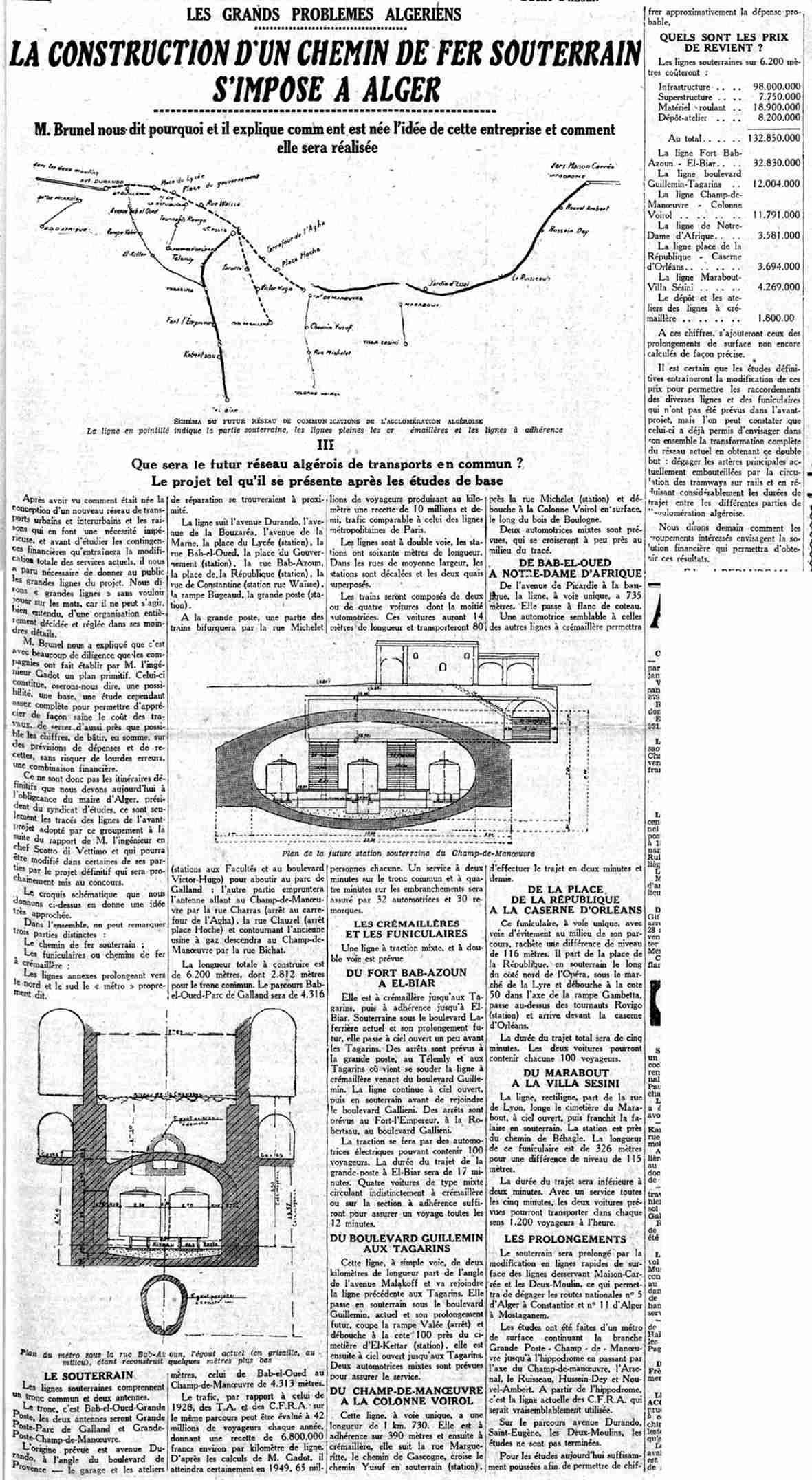construction d 39 un chemin de fer souterrain alger http alger. Black Bedroom Furniture Sets. Home Design Ideas