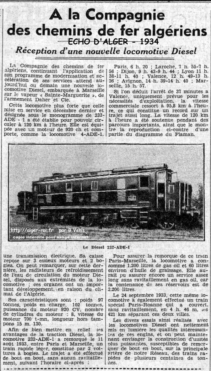 la compagnie des chemins de fer reception d u0026 39 une puissante locomotive diesel      alger